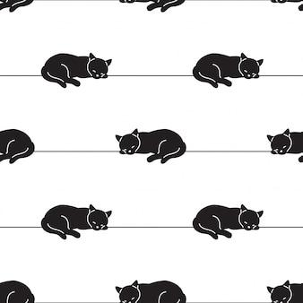 猫のシームレスなパターン子猫漫画イラストを眠っています。