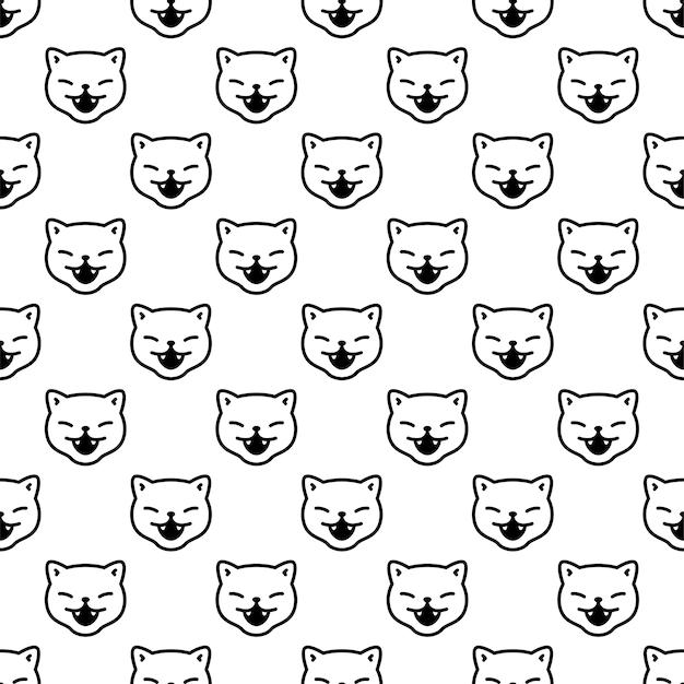 Cat seamless pattern kitten smile cartoon character