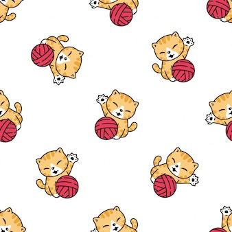 猫のシームレスなパターン子猫糸ボール漫画