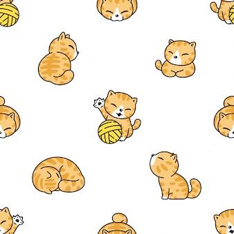 猫のシームレスなパターン子猫糸ボールグッズ漫画イラスト