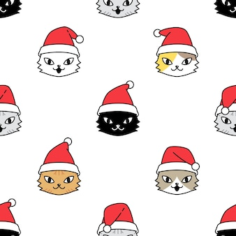 Cat seamless pattern santa claus christmas