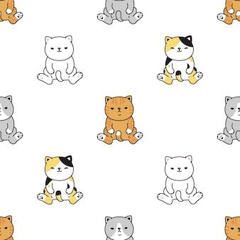 猫のシームレスなパターン座っている三毛猫子猫漫画