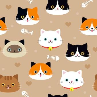 Cat seamless pattern vector design
