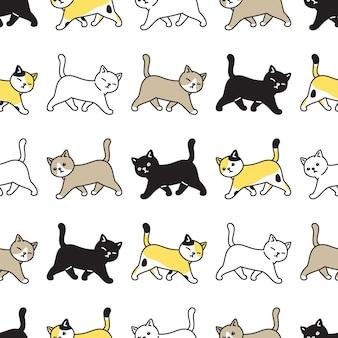 猫のシームレスなパターンキャリコ子猫漫画を歩く