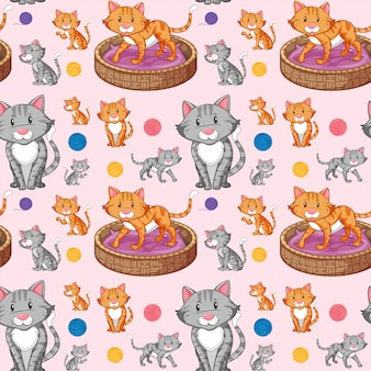 Cat on seamless pattern