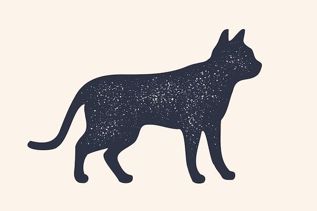고양이, 실루엣. 가축의 컨셉 디자인-고양이 또는 새끼 고양이, 측면보기 프로필. 격리 된 검은 실루엣 고양이 또는 새끼 고양이 흰색 배경에.