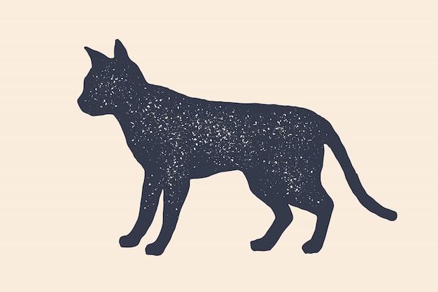 고양이, 실루엣. 집 동물의 개념
