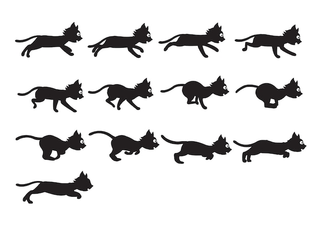 Cat silhouette game character animation sprite