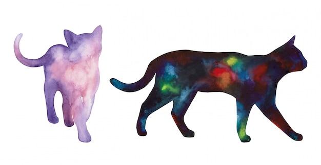 Силуэт кошки, нарисованный акварелью