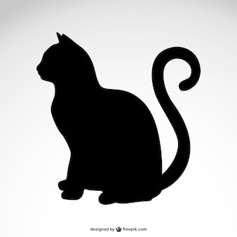 猫のシルエット無料のベクトル