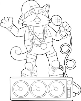 Кошка певица раскраска иллюстрация