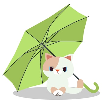 The cat sitting under the green umbrella . the cats look unhappy.