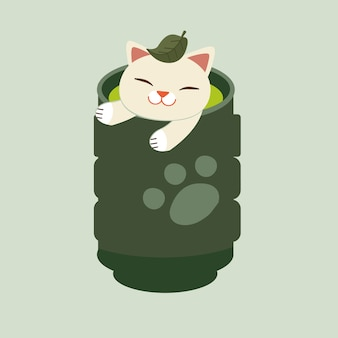 The cat sitting in the japanese tea cup. the cat look relaxing with the japanese tea cup. the cat has a green tea leaf on it head.