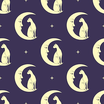 Cat sitting on moon. night sky seamless pattern background. cute magic, occult .
