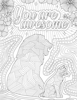 Cat sitting with a lion shadow showing you are awsome message colorless line drawing