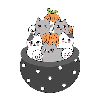 Cat and skeleton and pumpkin in poison pot