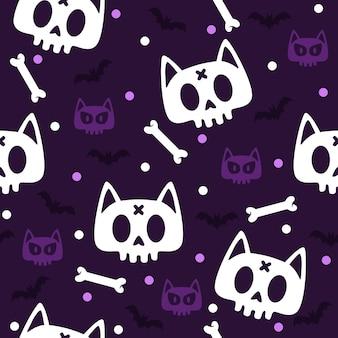 Cat skull bones halloween pattern illustration