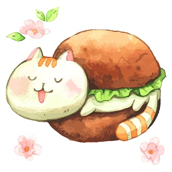 Cat sleep in hamburger cartoon