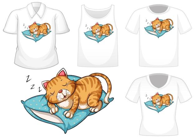 Personaggio dei cartoni animati di gatto che dorme con set di camicie diverse isolato su priorità bassa bianca