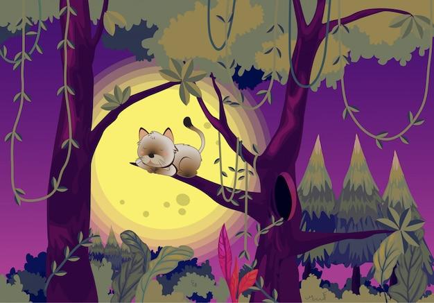 木の中で眠っている猫 Premiumベクター