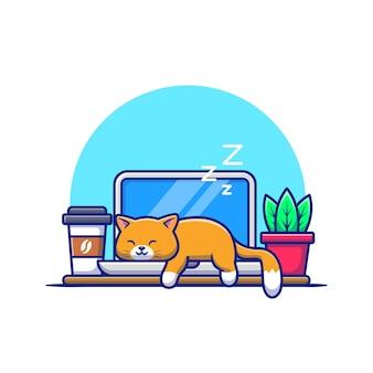 ノートパソコンの漫画のベクトル図で眠っている猫。動物技術の概念分離ベクトル。フラット漫画スタイル