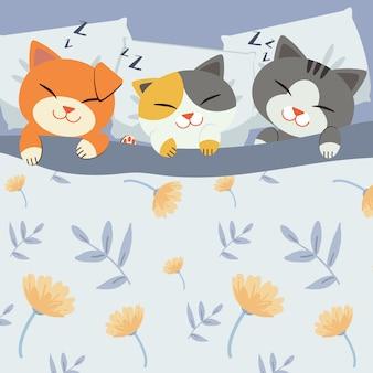 猫はベッドで寝ています。
