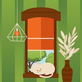 窓辺、イラストで寝ている猫。モダンなアパートメントの部屋でかわいい子猫とフラットスタイルの漫画シーン。素敵な猫、夏の木々を望む窓