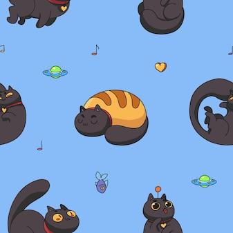 猫の睡眠のシームレスなパターン。