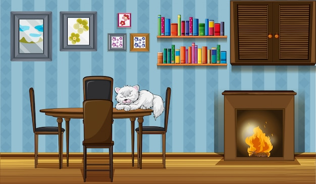 A cat sleeping above the table beside the fireplace