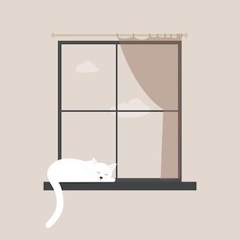 고양이는 창턱 그림에서 잔다