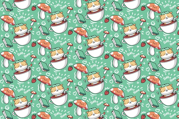 Cat soaking in a teacup pattern