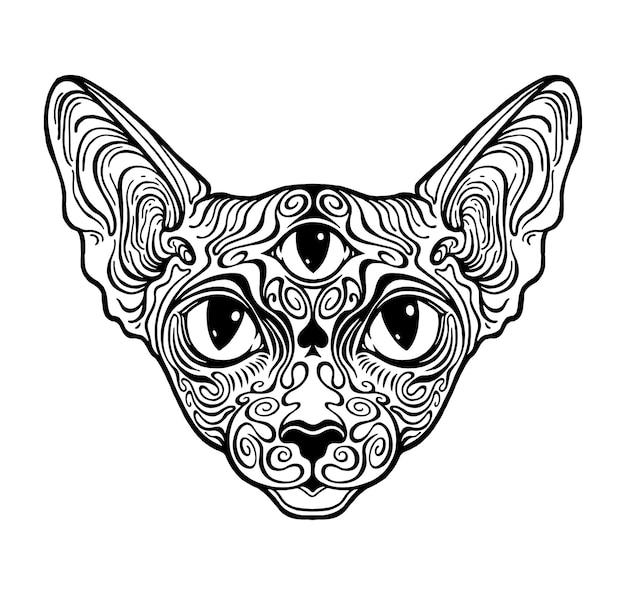 猫のスフィンクスの模様。第三の目のグラフィックイラスト