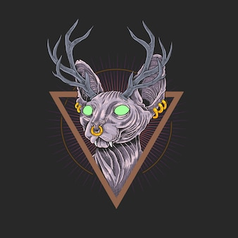 Cat sphynx antlers design artwork