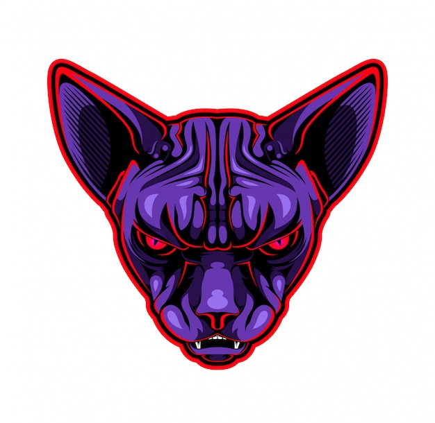 Cat sphynx head mascot logo