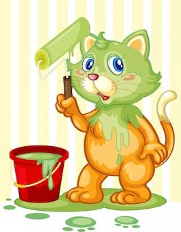 Cat spilling paint