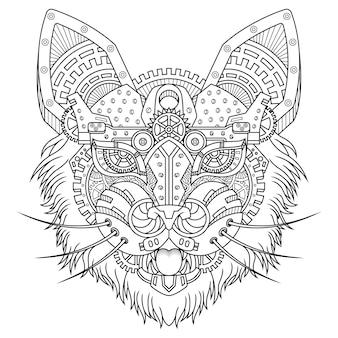 Кот стимпанк иллюстрация линейный стиль