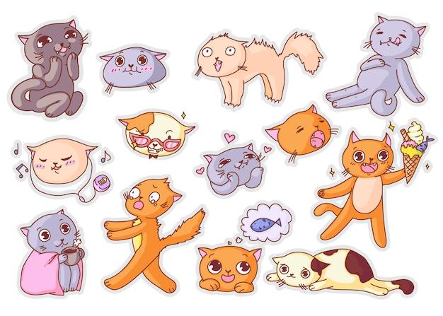 猫のステッカー。かわいい子猫キャラクターの感情やカワイキティ式アイコンコレクション。かわいいペット動物イラストを繁殖させます。白い背景の設定面白いユーモラスな猫ステッカー