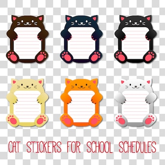 Cat stickers for school schedule and timetable
