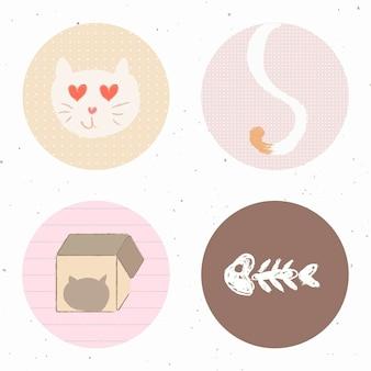 猫の物語は、ソーシャルメディアのベクトルに設定されたアイコンを強調表示します