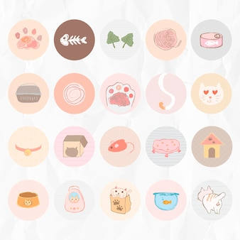 Cat story highlights icon set for social media