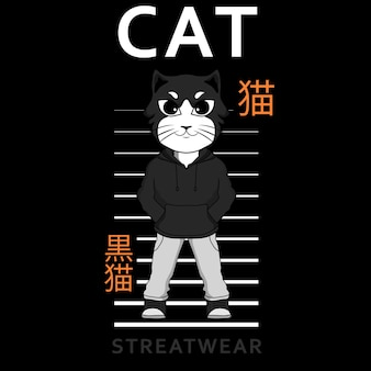 Черно-белая иллюстрация кота streatwear для дизайна футболки