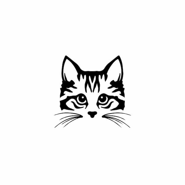 Кошка символ логотип дизайн племенных тату трафарет векторные иллюстрации