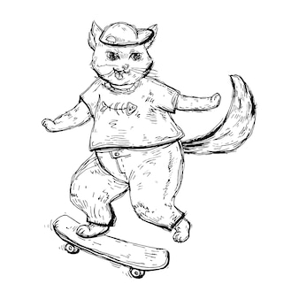 Cat in t-shirt, jeans and cap is riding a skateboard.
