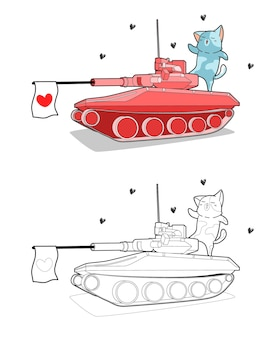 Cat on the tank cartoon coloring page