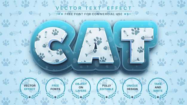 猫のテクスチャ編集テキスト効果編集可能なフォントスタイル