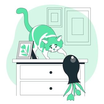 花瓶を投げる猫のコンセプトイラスト