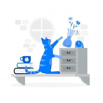 Gatto che lancia un'illustrazione del concetto di vaso
