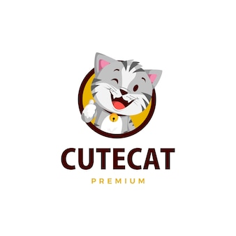 Cat thumb up mascot character logo  icon illustration