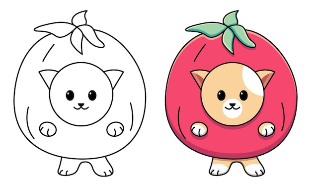 Cat in tomato costum coloring page for kids