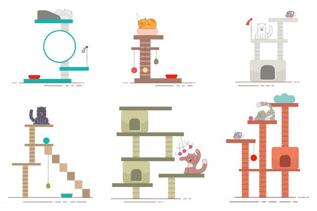 Cat tower and scratching post flat icons set
